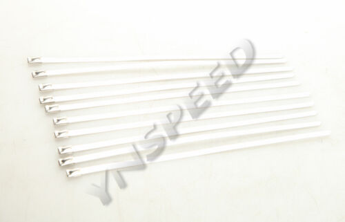 """10PCS 12/"""" STAINLESS STEEL ZIP TIES FOR CABLE EXHAUST HEADER PIPE WRAP"""