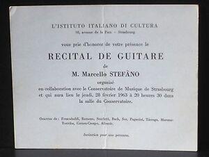 Invitation récital Marcello Stefano Strasbourg 1963