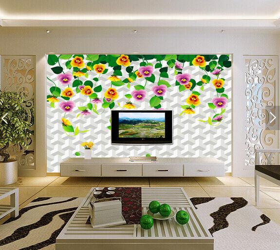 3D Bunte Blaumen 768687  Fototapeten Wandbild Fototapete BildTapete Familie DE