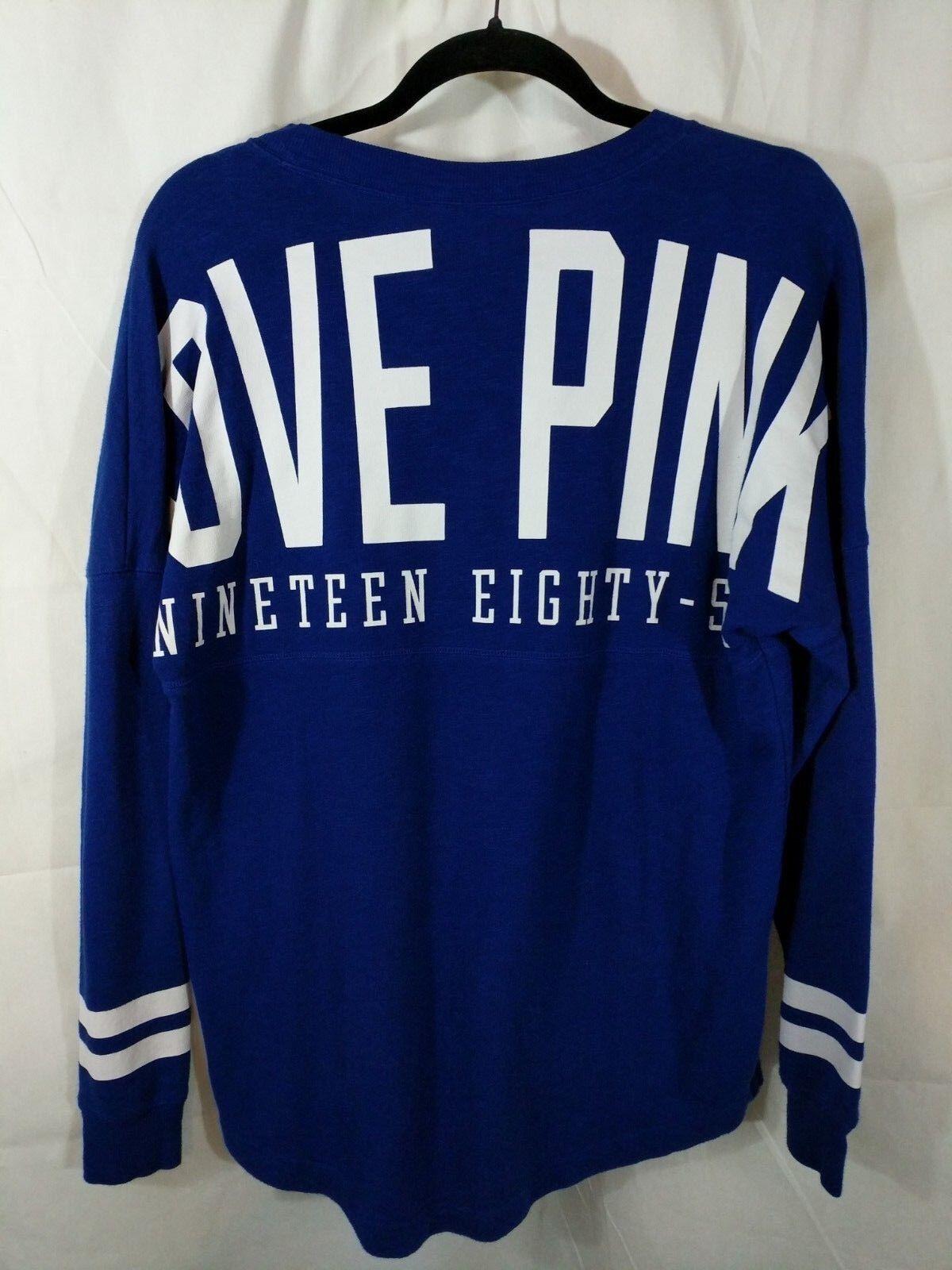 Victoria's Secret PINK bluee & White Varsity Crew Sweatshirt Small NWOT