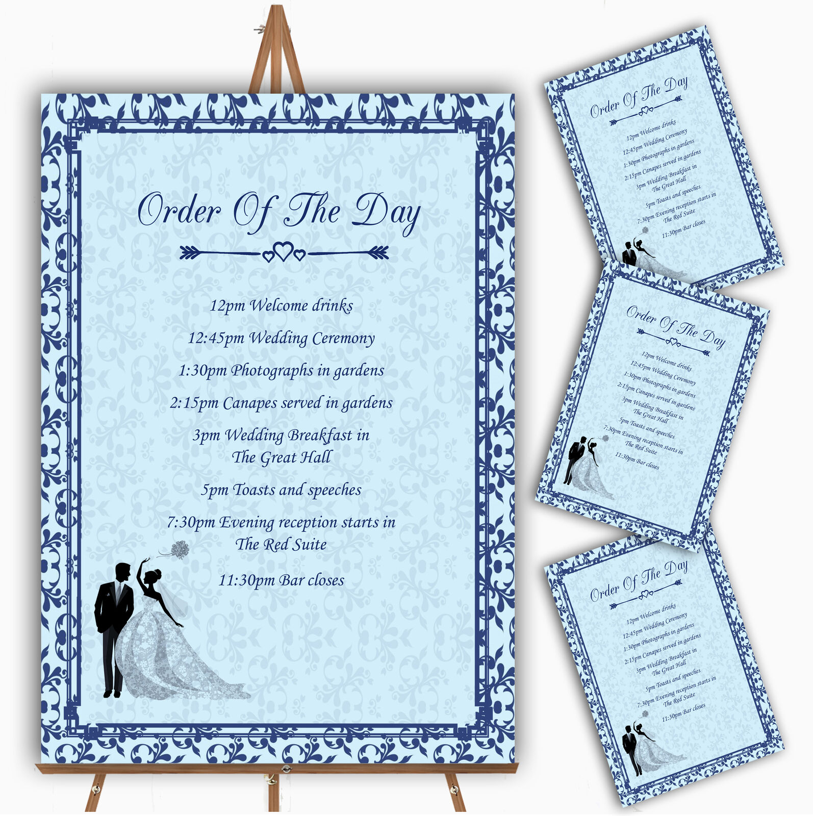 Blau Classic Vintage Personalised Wedding Order Of The Day Cards & Signs