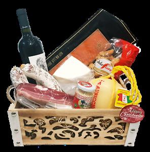Strenna di Natale GOLD BOX 1 - Cesto Natalizio Gastronomico salumi formaggi