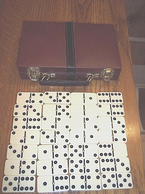 Vintage Spinner Dominoes Game Standard Dominoes 28 with Case Double Six Dominoes