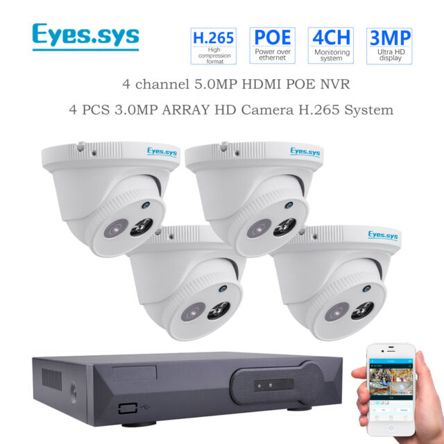Eyes.sys 4PCS 3.0MP ARRAY LED CCTV DOME Camera 4CH 5MP NVR POE H.265 SYSTEM AU