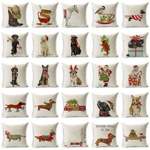 Dachshund Christmas Pillow Cushion Cover Dog Pillowcase Pillow Case Home Decor