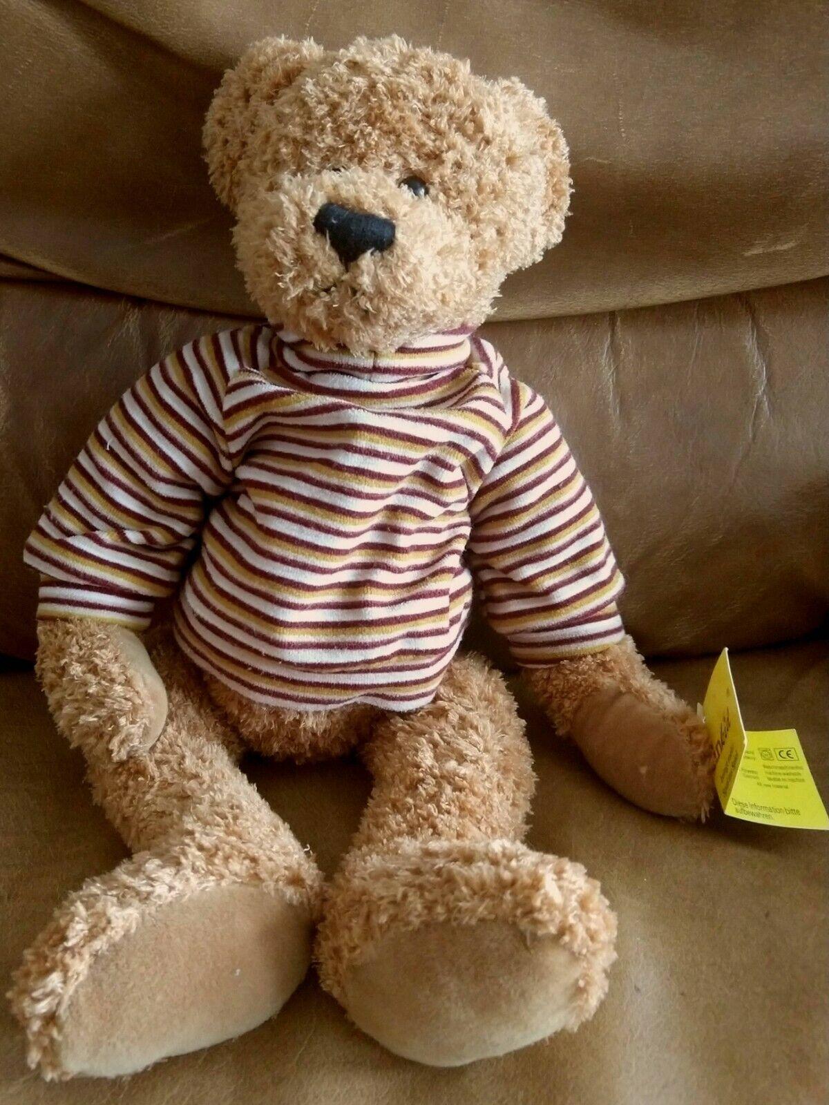 Sunkid braun Plush Teddy Bear with a striped turtle neck Germany w  Tag vintage
