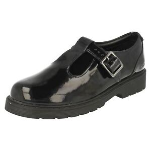 CLARKS-Purley-Go-Girls-Black-Patent-Leather-T-Bar-Buckle-School-Shoes