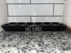 Rae Dunn FREE RANGE Black Ceramic 12 Egg Holder New HTF
