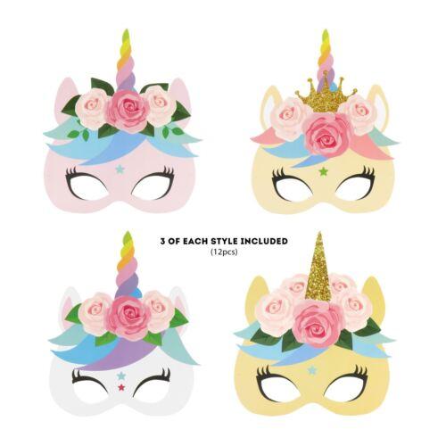 12pc Unicorn Masks Kids Girls Fancy Dress Birthday Party Bag Filler Photo Prop