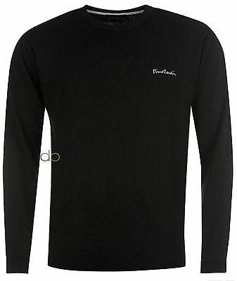 Pierre Cardin Mens Black Sweater Crew Neck Knitted Jumper Sizes S - 6XL