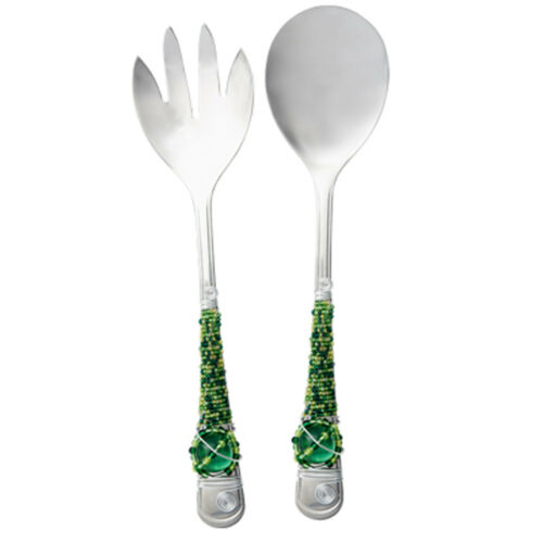 Salad Server Set with Glass Beaded Handles in Gift Box