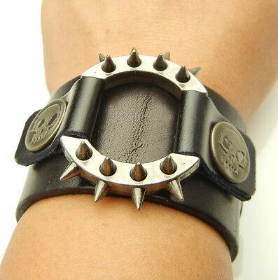 TDW103 Spikes Ring Skull Stud Black Leather Short Bracer Cuff Wristband Bracelet