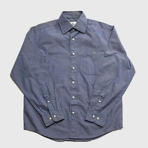 Mens-Lacoste-Shirt-Small-Blue-Check-Long-Sleeve