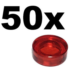 LEGO 98138 NEW Red Transparent Round Smooth Tile Plate 50 Pieces