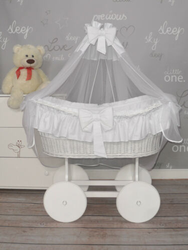 6 COLOURS EXTRA LARGE WICKER MOSES BASKET WITH BEDDING SET AND WHITE STAND