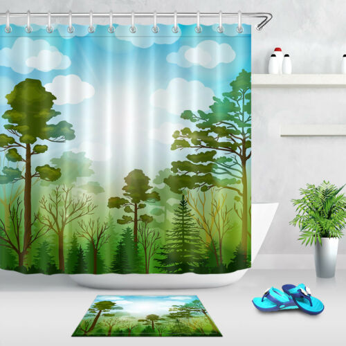 """72X72/"""" Hand Drawn Watercolor Forest Shower Curtain Set Green Trees and Blue Sky"""