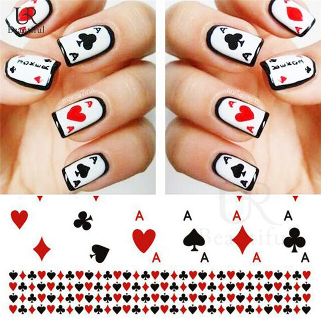 Nail Art Water Decals Transfers Poker Aces Playing Cards Casino Gel