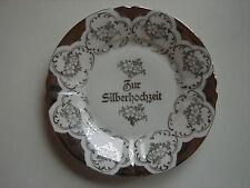 "antiker Teller ""Zur Silberhochzeit"", original Jugendstil, 2 verfügbar"