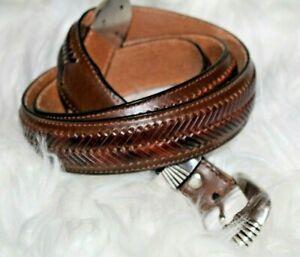 Nocona-Men-039-s-42-Brown-Leather-belt-woven