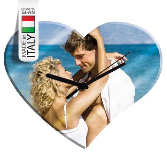 oroLOGIO CUORE VETRO 35x30 personalizzato con la tua FOTO