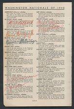 1940 Washington Senators Baseball Signed Sheet (15) WITH RARITIES
