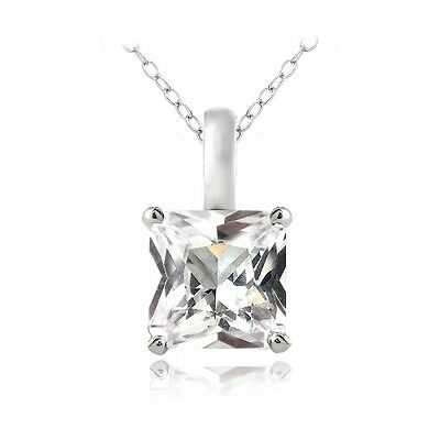 "925 Silver Created White Sapphire Square Solitaire Necklace, 18"""