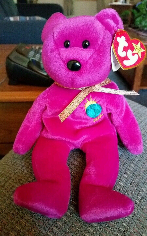 1999 Rare Rare Rare TY Beanie Babies Millenium Bear, w errors b18d81