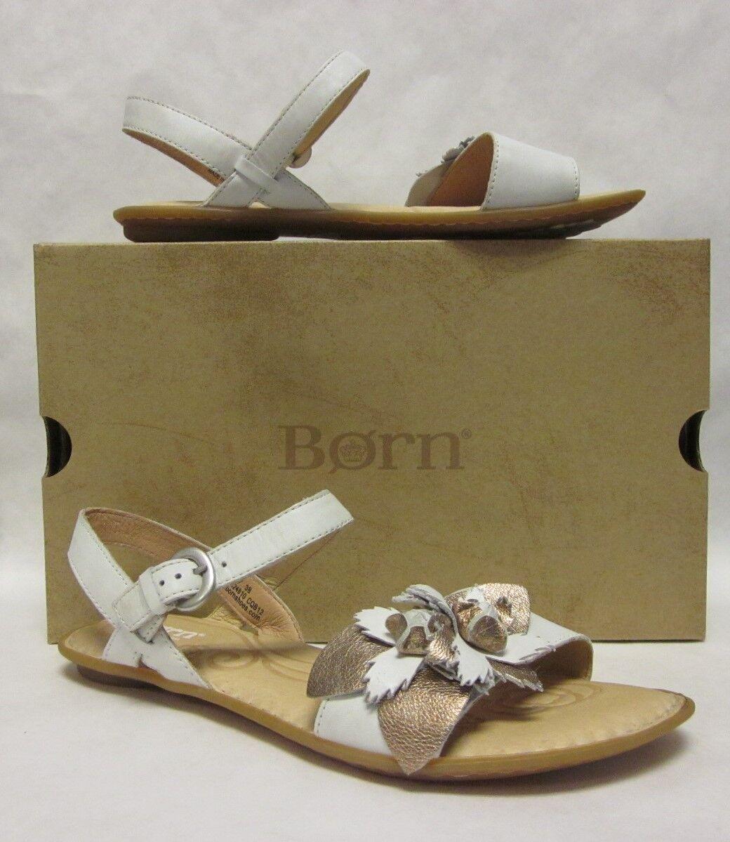 Born Yuki White gold Metallic Flower Sandal