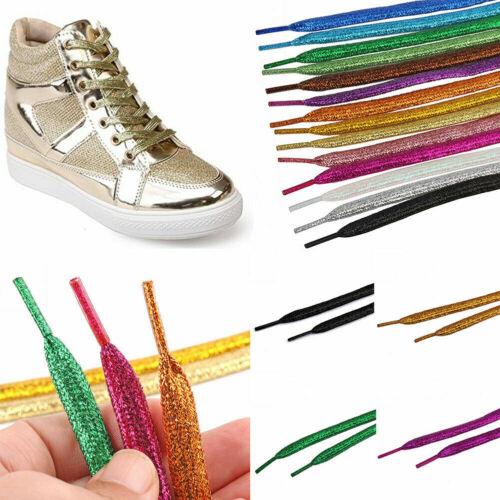1 Pair Pearlized Glitter Shoelace Canvas Sneaker Flat Shoe Laces 16 Colors Hot