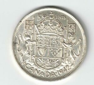 CANADA-1942-FIFTY-CENTS-HALF-DOLLAR-GEORGE-VI-CANADIAN-SILVER-COIN