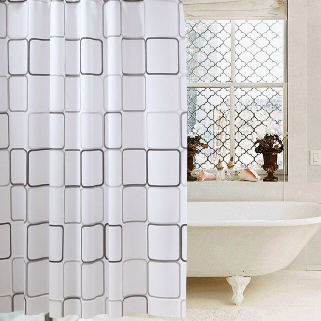 Bathroom Shower Curtains PEVA Translucent Bath Curtain Waterproof with Rings New