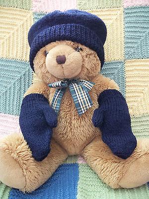 Hand Knitted Stockin Stitch Cappello & Guanti Per 1 - 2 Anni, Blu Navy, Regalo Ideale-mostra Il Titolo Originale