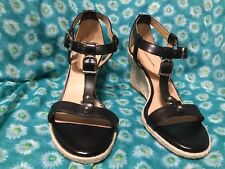 5160452016f Antonio Melani Amirah Black Sandals Thong Leather Wedges Size 9.5 ...