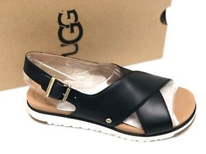 eb3deae67ef Details about UGG Australia Women's KAMILE BLACK Leather 1092429 Casual  Strappy Sandals Shoes