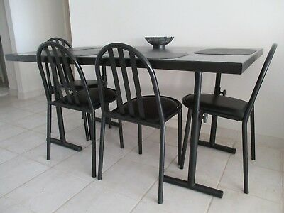 Solid Wood Butcher Block Top and Separate Legs Black Dining Table | eBay