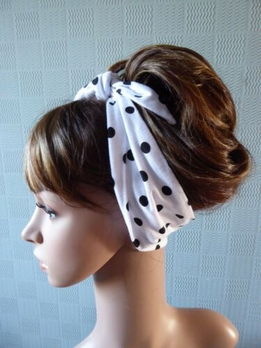 White spotted head scarf stretch hair wrap polka dot jersey self tie//pin up