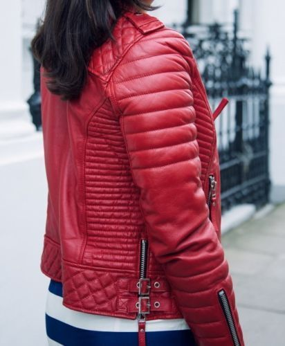 Womens Ladies Quilted Red Lamb Skin Designer Fashion Leather Jacket