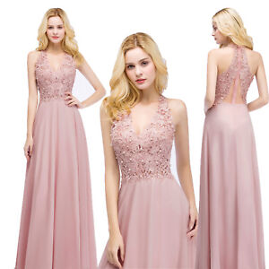 US-Stock-Long-Pink-Chiffon-Prom-Formal-Dresses-Bridesmaid-Wedding-Party-Gowns