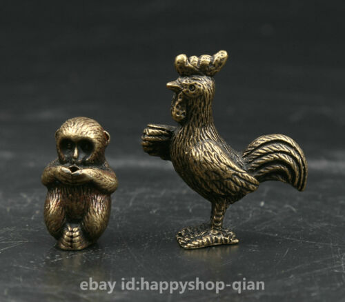 12PCSCollection Curio Chinese Bronze Twelve Zodiac Lucky Animal Small Statue Set