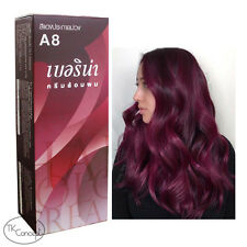 Berina Permanent Hair Dye Color Cream Burgundy  Color No. A8   60 ml.+free ship.