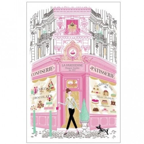 Torchons & Bouchons Paris Dog French PATISSERIE Pastry Cake Kitchen Towel $19.95