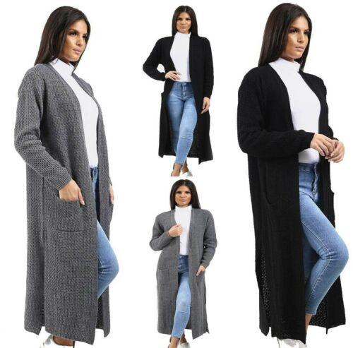 Femme Pleine Longueur Manches Longues 2 Poche Ouverte Côté Double Fentes Maxi Cardigan
