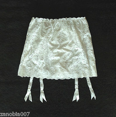 CROWN FOUNDATIONS Lace Embroidery Garter Skirt & Hi-Cut White Brief Size 50/10XL
