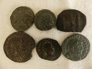 ( Lot : 04 ) Lot De 6 Pieces De Monnaie Antique Romaine Empereur A Identifier Chaud Et Coupe-Vent