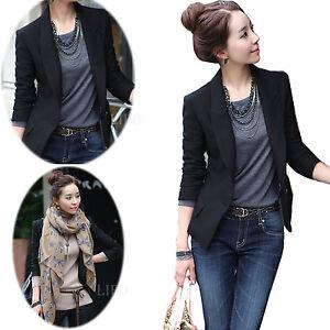 los recién llegados a bajo precio barata mejor online Details about Women's Lady One Button Short Slim Blazer Suit Jacket Coat  Long Sleeve Zsell