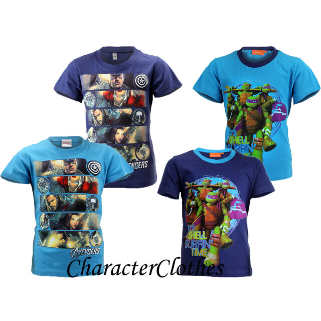 New Boys Character NINJA TURTLES / AVENGERS T-shirt Kids Cartoon Top Age 1-12