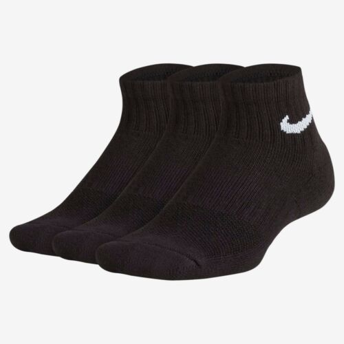 Nike Kids Junior 3 Pairs Socks Boys Ankle Crew Cotton Sports Black White DRY FIT