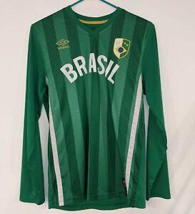 BRASIL Umbro Long-Sleeve Green Mens Soccer Jersey Brazil Striped Jersey Small