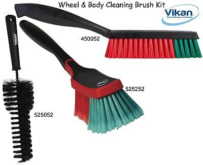 3 Superb Professional Brushes Vikan Car Body /& Wheel /& Upholstery Set
