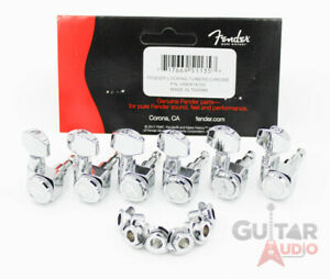 Genuine-Fender-CHROME-LOCKING-6-InLine-2-pin-Strat-Tele-034-F-034-Logo-Tuners-Machines